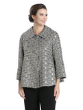 IC Collection Metallic Polka Dot Button Front Jacket in Gold - 3640J