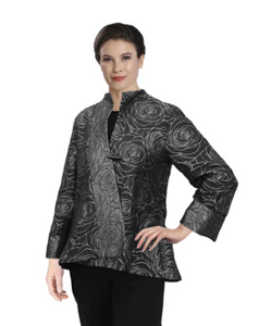 IC Collection Floral Jacquard Asymmetric Jacket in Grey - 3806J-GRY