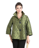 IC Collection Mosaic Jacquard Jacket in Olive - 8460J-OLV