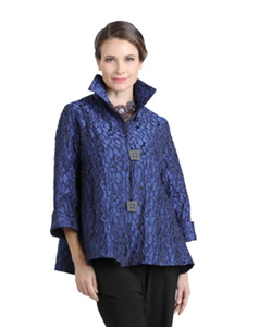 IC Collection Mosaic Jacquard Jacket in Royal Blue - 8460J-ROY