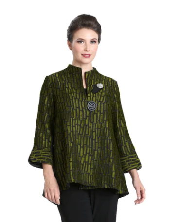 IC Collection Two-Tone Stripe Jacquard in Kiwi - 3104J-KW