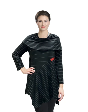 IC Collection Mixed Stripe Fold over Tunic in Black - 3847T