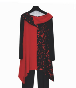 IC Collection Mixed Media Tunic in Red/Black - 3625T