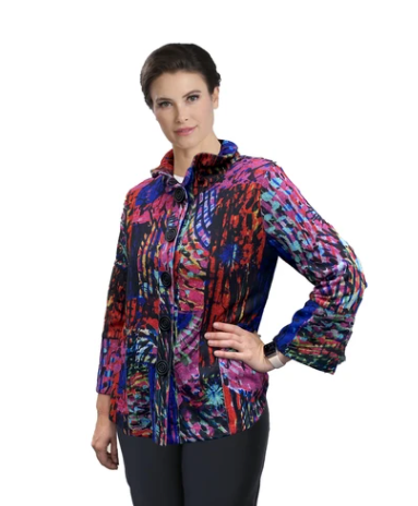 IC Collection Colorful Sweater Knit Jacket in Multi - 2399J-BLK