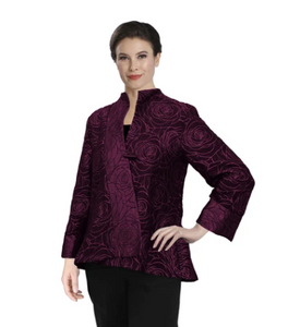 IC Collection Jacquard Asymmetric Jacket in Pink - 3806J-PNK