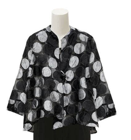 IC Collection Sheer Polka Dot Dressy Asymmetric Jacket - 3836J