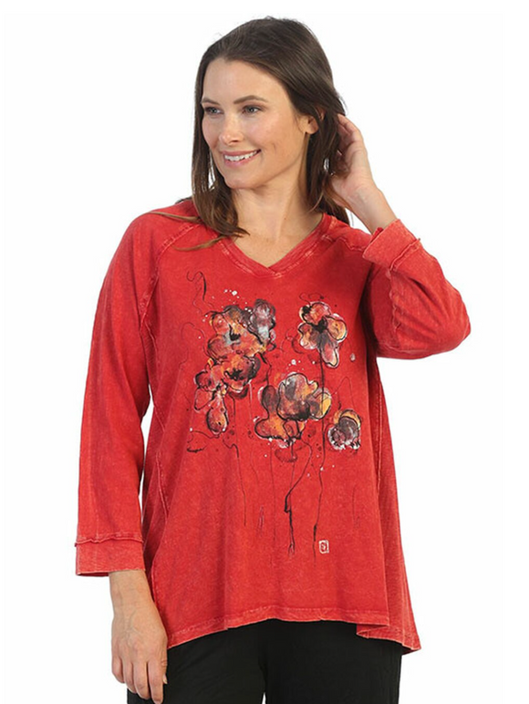 M75- 1538 Jess & Jane Mineral Washed Tunic Top w/Side Contrast -