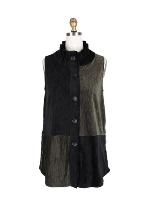 Damee Colorblock Luxe Crinkle Vest in Olive/Black - 3176-OLV