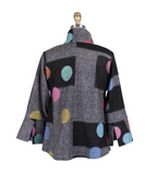 Damee Dotted Short Sweater Jacket in Multi/Grey - 4648-GRY
