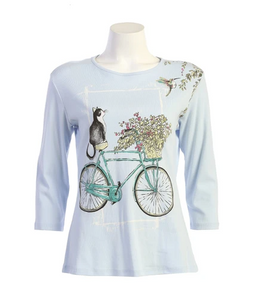 "Jess & Jane ""Cat On A Bike"" Abstract Floral Print Top in Blue - 14-1588"