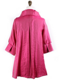 Damee NYC Shimmery Signature Swing Jacket-200-FUCHSIA