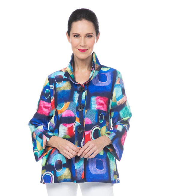 DAMEE ABSTRACT-PRINT BUTTON FRONT JACKET IN NAVY/MULTI - 4692-NVY