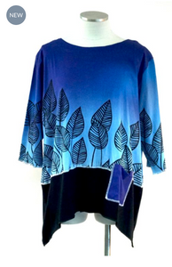 COL6-7001-H / LEAVES ON BLUE COTTON KNIT TOP