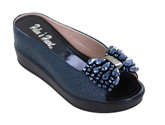 Helen's Heart Navy Casual Slide Shoe