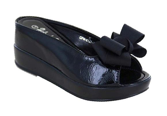Helens Heart Black Party Bow Slide Shoe