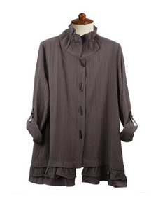 Moonlight Button Front Ruffle Hem Shirt/Jacket in Grey - 2315-GRY