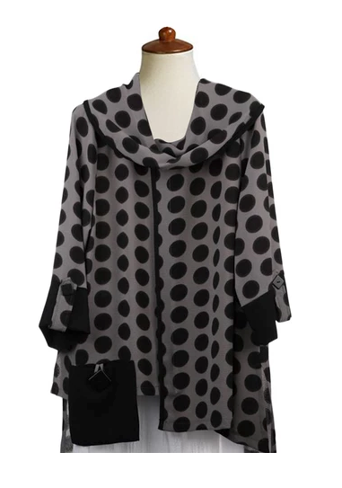 Moonlight Polka Dot Cowl Neck Tunic in Black/Grey - 2560-CL