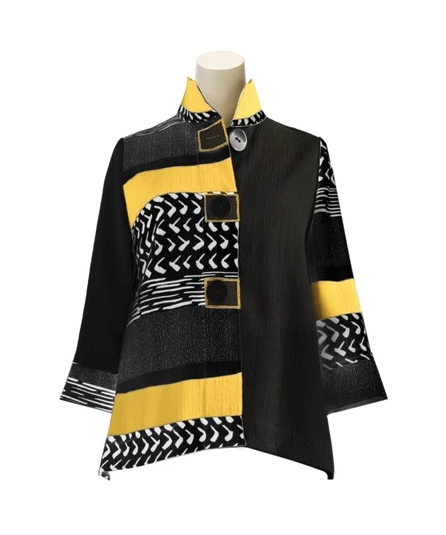 Moonlight Mixed-Media Button Front Jacket - 2842-MUS