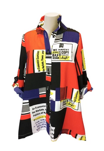 Moonlight Colorblock Button Front Shirt/Jacket in Multi - 2661