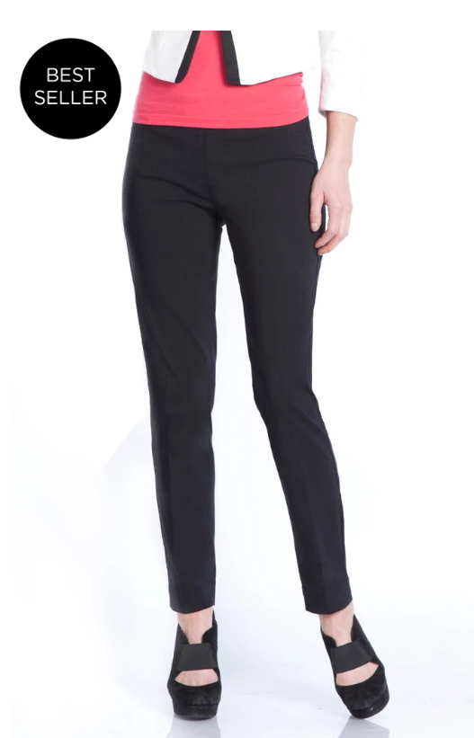 ANKLE Women's Wide Band Pull On Pant with Tummy Control (M2623P)-BLACK