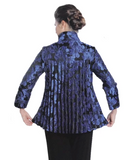 IC Collection Jacquard Button Front Jacket in Blue/Black - 1514J-BLU