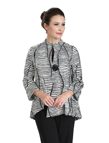 IC Collection Textured Striped Asymmetric Jacket in Black/White - 3014J -BW