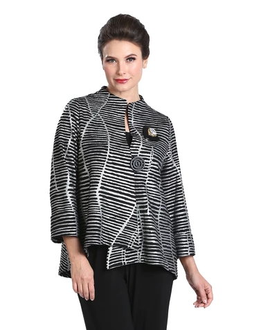 IC Collection Textured Striped Asymmetric Jacket in Black /Silver - 3014J -SLV