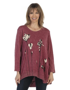 "Jess & Jane ""Ascent"" Mineral Washed Cotton Rib Tunic Top in Mulberry - M18-1259"