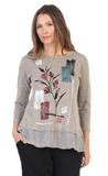 "Jess & Jane ""Serena"" Abstract Floral Mineral Washed Tunic Top - M48-1392"