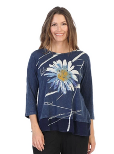 "Jess & Jane ""Chit Chat"" Printed Mineral Washed Tunic Top - M48-1387"