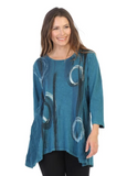 "Jess & Jane ""Canali"" Abstract Print Mineral Washed Tunic in Cypress - M55-1241"
