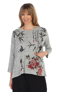 "Jess & Jane ""Calligraphy"" Sweater Knit Top in Grey/Multi - GB1-1192"