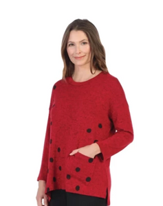 "Jess & Jane ""Coco Dots"" Sweater Knit Top in Red/Black - GB1-1322"