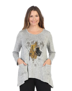 "Jess & Jane ""Stella"" Abstract Print Sweater Knit Top in Heather - GB3-1377"