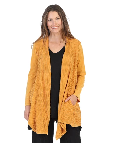 Jess & Jane Mineral Washed Cardigan w/Contrast Trim- M57-CANARY