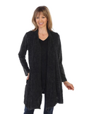 Jess & Jane Mineral Washed Cardigan w/Contrast Trim - M57-BLACK