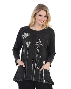 "Jess & Jane ""Ascent"" Floral Mineral Washed Tunic Top in Black - M12-1259"