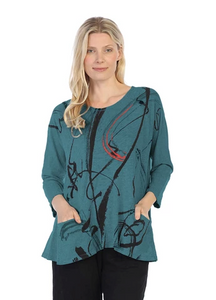 "Jess & Jane ""Matilda"" Abstract Mineral Washed Tunic Top in Cypress - M12-1247"