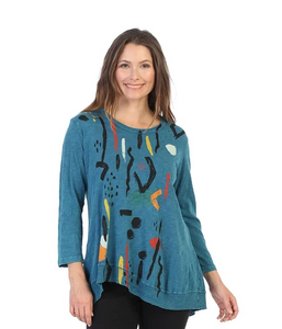 "Jess & Jane ""Surprise"" Mineral Washed Cotton Rib Tunic Top in Cypress - M18-1141"