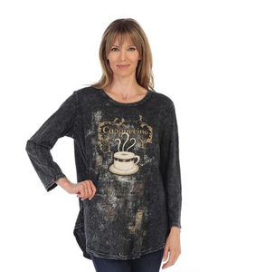 "Jess & Jane ""Cappuccino"" Mineral Washed Cotton Tunic Top - M28-1291"