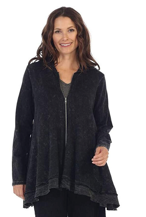 Jess & Jane Women's MINERAL Washed Cotton French Terry Hoodie Jacket-M44-BLACK