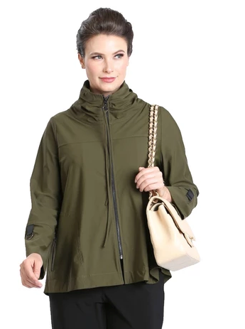IC Collection Zip Front Parachute Jacket in Olive - 3316J-OLV
