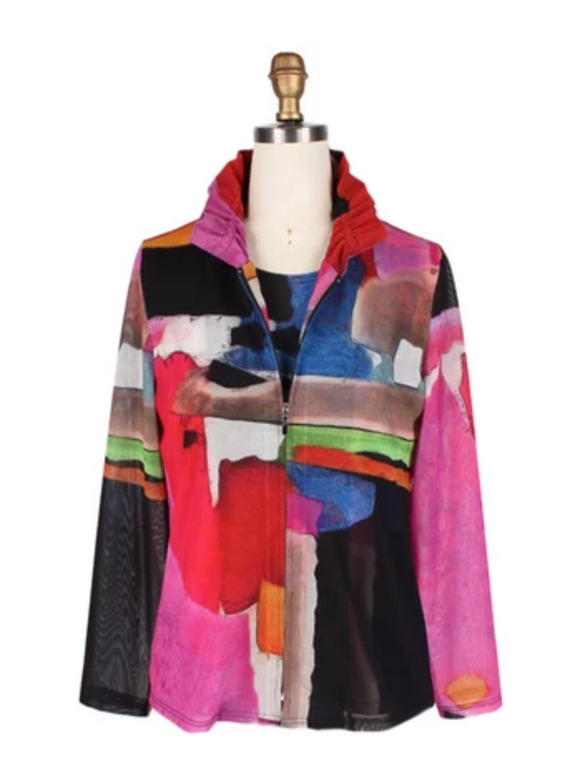 Damee NYC Brushstroke Mesh Jacket w/Matching Shell in Fuchsia/Multi 31384-FCH