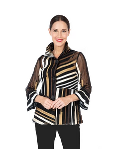Damee Mixed Stripe Soutache Jacket in Gold/Multi-2328-GLD