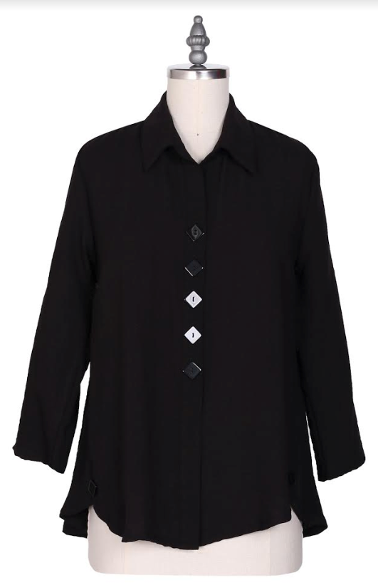 Yushi 5 Button Collared Top-1339-BLACK