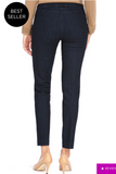 LONG/Narrow with POCKETS Women's Wide Band Pull-On Straight Leg Pant With Tummy Control (M2684P)-DENIM
