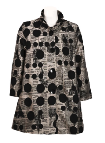Yushi Newsprint Dot Tunic Jacket-2198