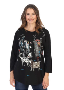 "Jess & Jane ""City Pups"" Mineral Washed Cotton Tunic Top in Multi/Black - M28-1436"