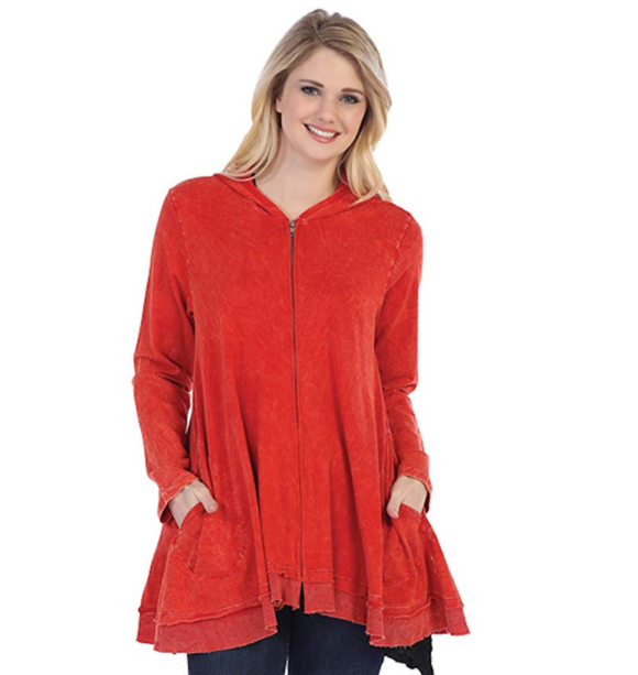 Jess & Jane Women's Mineral Washed Cotton French Terry Hoodie Jacket-M44-RED