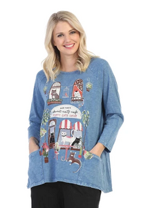 "NEW - Jess & Jane ""Cat Cafe"" Mineral Washed Tunic Top - M12-1465"